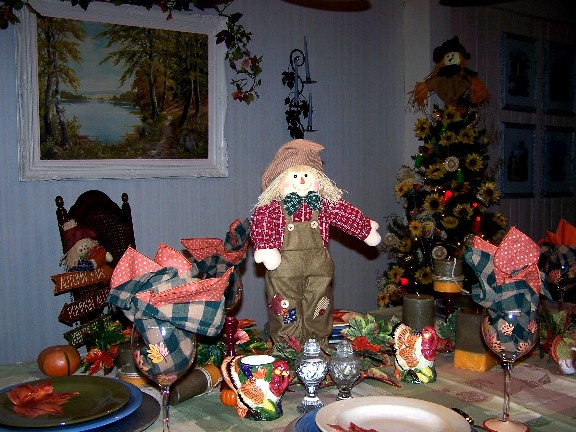 Autumn Tablescape Scarecrow Christmas Tree
